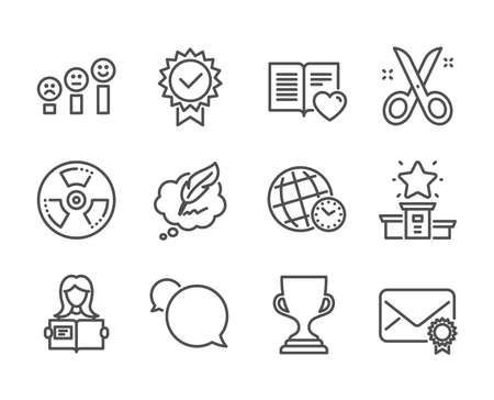 Set of Education icons, such as Winner podium, Time zone, Scissors, Award cup, Woman read, Copyright chat, Chemical hazard, Messenger, Certificate, Love book, Verified mail line icons. Vector Ilustrace