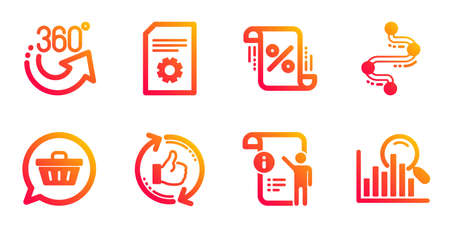 File settings, 360 degrees and Manual doc line icons set. Refresh like, Loan percent and Shopping cart signs. Timeline, Search symbols. File management, Full rotation. Technology set. Vector
