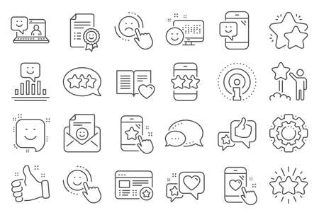 Feedback line icons. Set of User Opinion, Customer service and Star Rating icons. Testimonial, Positive negative emotion, Customer satisfaction. Social media feedback, star rating technology. Vector