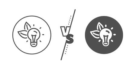 Lightbulb sign. Versus concept. Eco energy line icon. Electric power symbol. Line vs classic eco energy icon. Vector