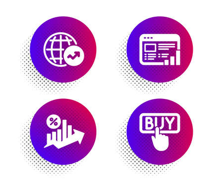 Web report, Loan percent and World statistics icons simple set. Halftone dots button. Buying sign. Graph chart, Growth chart, Global report. E-commerce shopping. Finance set. Vector