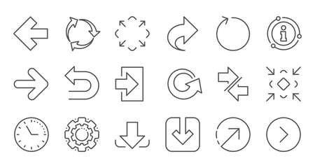 Arrow icons. Download, Synchronize and Share. Navigation linear icon set. Quality line set. Vector