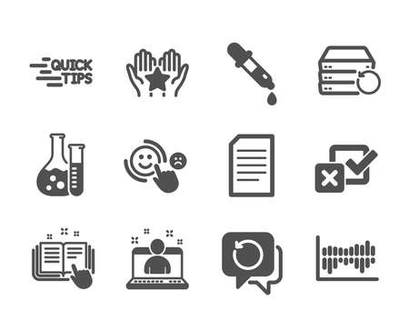 Set of Education icons, such as Chemistry pipette, Recovery server, Recovery data, Best manager, Document, Education, Ranking, Checkbox, Technical documentation, Column diagram. Vector