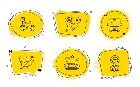 Bus, Car travel and Shipping support signs. Chat bubbles. Airplane, Bicycle parking and Flight sale line icons set. Plane, Bike park, Travel discount. Tourism transport. Transportation set. Vector Banque d'images - 133180386