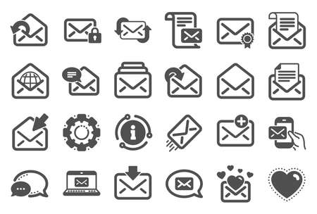 Mail message icons. Newsletter, Email document, Correspondence icons. Received mail, Secure message and Web letter. Post office newsletter, Send email document, private communication. Vector Stock Illustratie
