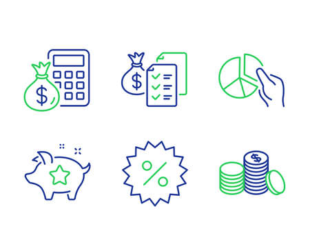 Accounting wealth, Finance calculator and Pie chart line icons set. Loyalty points, Discount and Banking money signs. Audit report, Calculate money, Presentation graph. Piggy bank. Vector
