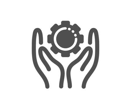 Work gear sign. Employee hands icon. Development cogwheel symbol. Classic flat style. Simple employee hand icon. Vector