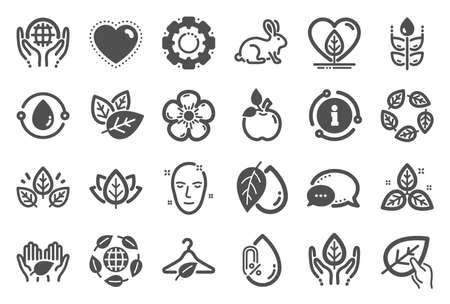 Organic cosmetics icons. No alcohol free, synthetic fragrance. Slow fashion, sustainable textiles icons. Fair trade, eco organic cosmetics. Gluten free, animal testing. Quality set. Vector Illustration