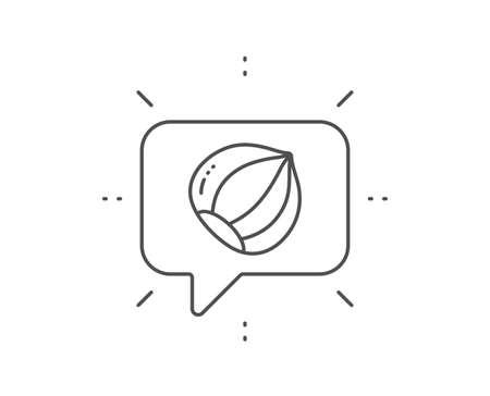 Hazelnut line icon. Chat bubble design. Tasty nut sign. Vegan food symbol. Outline concept. Thin line hazelnut icon. Vector