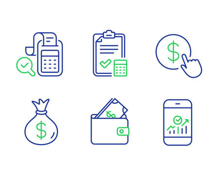 Buy currency, Money bag and Wallet line icons set. Accounting checklist, Bill accounting and Smartphone statistics signs. Money exchange, Usd currency, Usd cash. Calculator. Finance set. Vector