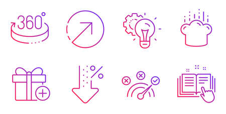 Add gift, Idea gear and Direction line icons set. 360 degrees, Correct answer and Cooking hat signs. Low percent, Technical documentation symbols. Present box, Technology process. Vector