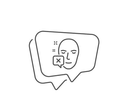 Face declined line icon. Chat bubble design. Human profile sign. Facial identification error symbol. Outline concept. Thin line face declined icon. Vector