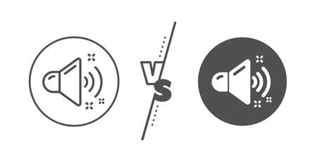 Music sound sign. Versus concept. Loud sound line icon. Musical device symbol. Line vs classic loud sound icon. Vector Ilustração