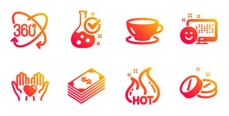 Hot sale, Smile and Dollar line icons set. Espresso, Full rotation and Chemistry lab signs. Hold heart, Medical tablet symbols. Shopping flame, Positive feedback. Business set. Vector