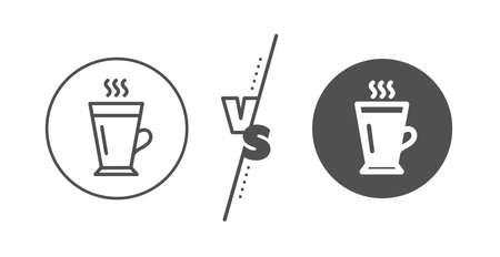 Hot Coffee or Tea sign. Versus concept. Latte line icon. Fresh beverage symbol. Line vs classic latte icon. Vector Ilustração