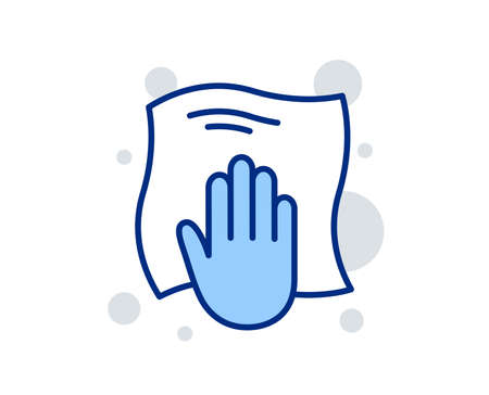 Cleaning cloth line icon. Wipe with a rag symbol. Housekeeping equipment sign. Linear design sign. Colorful washing cloth icon. Vector Çizim