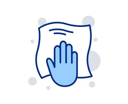 Icona della linea di panno per la pulizia. Pulire con un simbolo di straccio. Segno di attrezzature per le pulizie. Segno di design lineare. Icona di panno di lavaggio colorato. Vettore