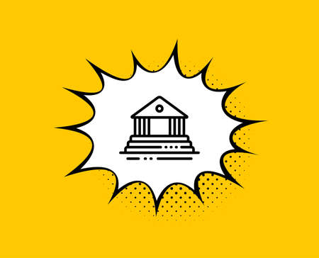 Court building line icon. Comic speech bubble. City architecture sign. Courthouse, government symbol. Yellow background with chat bubble. Court building icon. Colorful banner. Vector