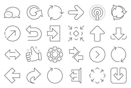 Pijlpictogrammen delen. Set downloaden, synchroniseren en recyclen pictogrammen. Symbolen voor ongedaan maken, vernieuwen en inloggen. Afmelden, downloaden en uploaden. Universele pijlelementen, delen, synchroniseren teken. Vector