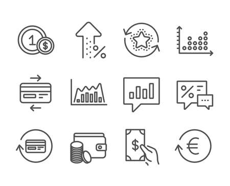 Set of Finance icons, such as Infographic graph, Usd coins, Payment method, Analytical chat, Loyalty points, Credit card, Refund commission, Exchange currency, Receive money, Discounts. Vector