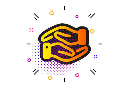 Charity gesture sign. Halftone circles pattern. Helping hand icon. Giving palm symbol. Classic flat helping hand icon. Vector