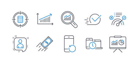 Set of Education icons, such as Data analysis, Chart, Calculator target, Correct answer, Recovery phone, Time management, Fast payment, Checkbox, Developers chat, Presentation line icons. Vector