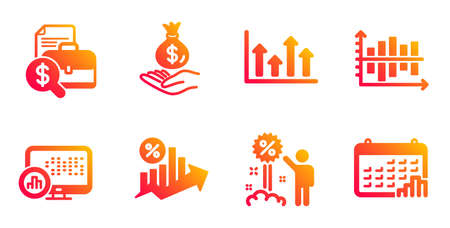 Diagram chart, Upper arrows and Discount line icons set. Accounting report, Report statistics and Loan percent signs. Income money, Calendar graph symbols. Gradient diagram chart icons set. Vector