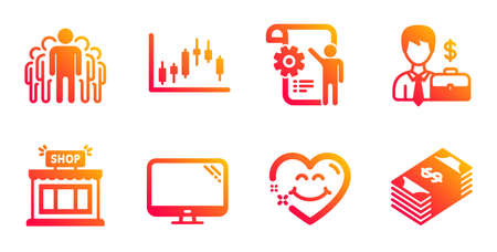Shop, Group and Computer line icons set. Businessman case, Smile face and Settings blueprint signs. Candlestick graph, Usd currency symbols. Store, Managers. Business set. Vector