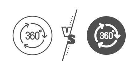 VR technology simulation sign. Versus concept. 360 degree line icon. Panoramic view symbol. Line vs classic 360 degree icon. Vector