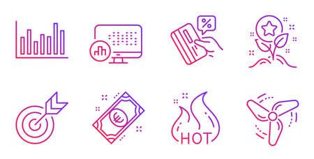 Report statistics, Hot sale and Credit card line icons set. Target, Bar diagram and Euro money signs. Loyalty points, Wind energy symbols. Graph chart, Shopping flame. Finance set. Vector