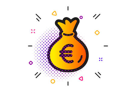 Cash Banking currency sign. Halftone circles pattern. Money bag icon. Euro or EUR symbol. Classic flat money bag icon. Vector