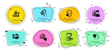 Career ladder, Capsule pill and Presentation board line icons set. Chat bubbles with quotes. Good mood, Hold heart and Graph chart signs. Face search, Opinion symbols. Vector 일러스트