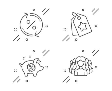 Loyalty tags, Piggy sale and Loan percent line icons set. Women group sign. Bonus reward, Discounts, Change rate. Lady service. Business set. Line loyalty tags outline icon. Vector