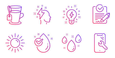 Inspiration, Rfp and Sun line icons set. Water drop, Rainy weather and Tea signs. Brainstorming, Smartphone repair symbols. Creativity, Request for proposal. Gradient inspiration icon. Vector Illustration