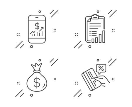 Money bag, Mobile finance and Checklist line icons set. Credit card sign. Usd currency, Phone accounting, Graph report. Loan percent. Finance set. Line money bag outline icon. Vector