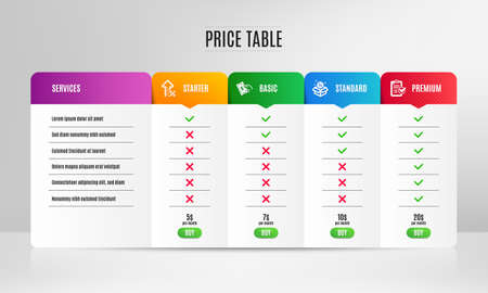 Sale, Increasing percent and Pay money icons simple set. Pricing table, price list. Survey checklist sign. Discount, Hold cash, Report. Finance set. Comparison table with price. Sale icon. Vector