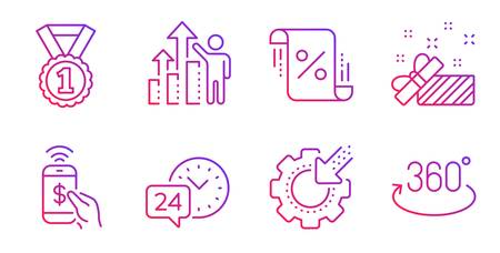 Seo gear, Employee results and Present line icons set. 24h service, Loan percent and Phone payment signs. Best rank, Full rotation symbols. Cogwheel, Chart. Business set. Vector