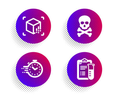 Chemical hazard, Augmented reality and Timer icons simple set. Halftone dots button. Medical analyzes sign. Toxic death, Virtual reality, Deadline management. Medicine results. Science set. Vector Çizim