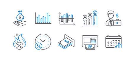 Set of Finance icons, such as Loan percent, Businessman case, Diagram chart, Hot loan, Bar diagram, Atm, Income money, Graph chart, Atm money, Calendar graph line icons. Line loan percent icon. Vector