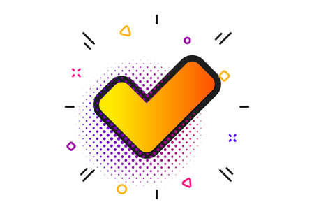 Approved Tick sign. Halftone circles pattern. Check icon. Confirm, Done or Accept symbol. Classic flat tick icon. Vector Illustration
