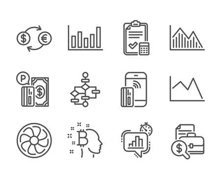 Set of Finance icons, such as Block diagram, Investment graph, Fan engine, Contactless payment, Parking payment, Line chart, Column chart, Accounting checklist, Accounting report. Vector Иллюстрация
