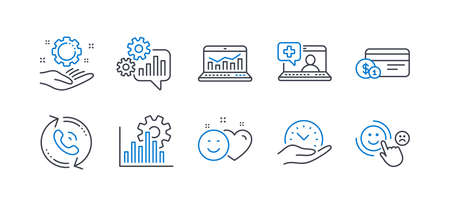 Set of Technology icons, such as Seo graph, Cogwheel, Call center, Medical help, Safe time, Smile, Web analytics, Employee hand, Payment method, Customer satisfaction line icons. Vector