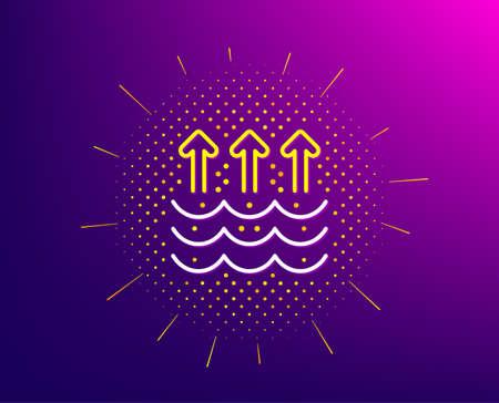 Evaporation line icon. Halftone pattern. Global warming sign. Waves symbol. Gradient background. Evaporation line icon. Yellow halftone pattern. Vector Illustration