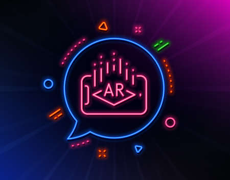 Augmented reality phone line icon. Neon laser lights. VR simulation sign. 3d view symbol. Glow laser speech bubble. Neon lights chat bubble. Banner badge with augmented reality icon. Vector