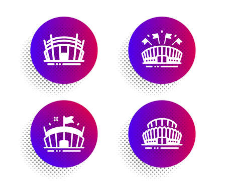 Arena stadium, Sports arena and Sports stadium icons simple set. Halftone dots button. Sport complex. Sports set. Classic flat arena stadium icon. Vector
