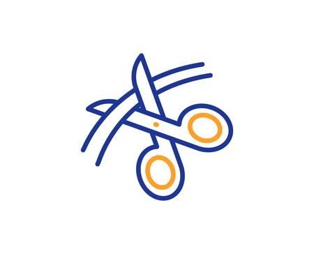 Cutting ribbon sign. Scissors line icon. Tailor utensil symbol. Colorful outline concept. Blue and orange thin line scissors icon. Vector