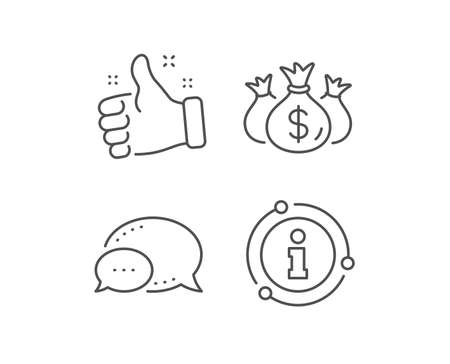 Check investment line icon. Chat bubble, info sign elements. Business audit sign. Cash bags symbol. Linear check investment outline icon. Information bubble. Vector