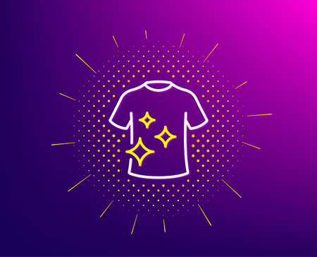 Clean t-shirt line icon. Halftone pattern. Laundry shirt sign. Clothing cleaner symbol. Gradient background. Clean t-shirt line icon. Yellow halftone pattern. Vector