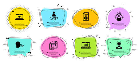 Architectural plan, Recruitment and Breathing exercise line icons set. Chat bubbles with quotes. Chemistry experiment, Technical info and Online statistics signs. Vector 向量圖像
