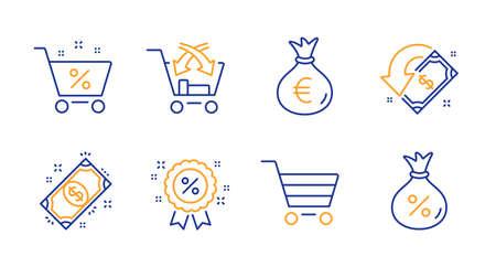 Market sale, Cross sell and Money bag line icons set. Cashback, Payment and Loan percent signs. Discount, Loan symbols. Customer buying, Market retail. Finance set. Line market sale icon. Vector Ilustração